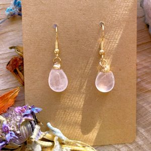 Raw Single Stone earring - Rose Quartz