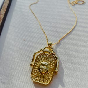 All that Jazz Sun Moon Pendant Double Sided 24 K Gold Fill Chain